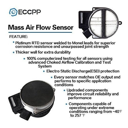 eccpp 15904068 sensor de flujo de aire de masa para buick, c