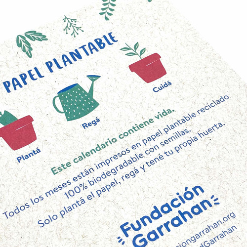 eco calendario 2020 reciclado plantable fundación garrahan e