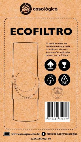 eco filtro - filtro de calha em pvc - coleta chuva 24x15cm