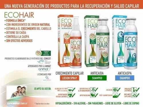 eco hair  anticaida crecimiento cabello combo locion+sham+aco