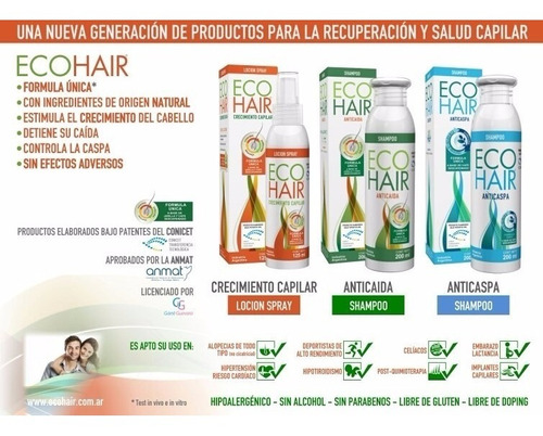 eco hair locion spray crecimiento capilar x 125 ml ecohair