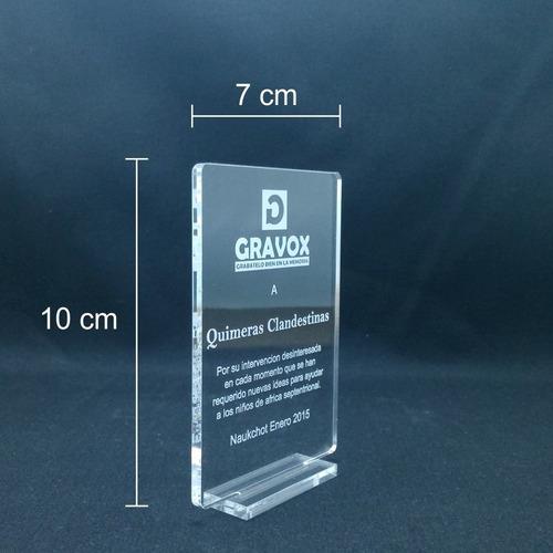 económico mini - galvano acrílico con grabado láser + caja