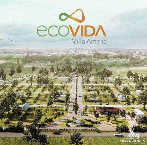 ecovida. localizado sobre ruta 18 antes del ingreso a villa amelia. financiados. lote sobre avenida con habilitacion comercial.