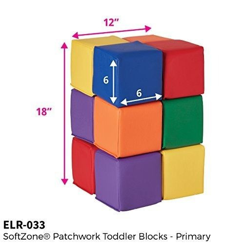 ecr4kids softzone toddler play soft blocks, primario (12 pie