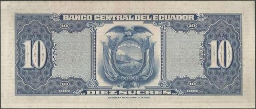 ecuador 10 sucres  23 may 1963 serie je p101aa