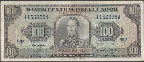 ecuador 100 sucres  1 feb 1980 serie uv
