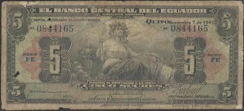 ecuador 5 sucres  7 nov 1940 serie fe p91a
