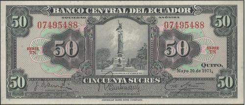 ecuador 50 sucres  20 may 1971 serie tn p104b
