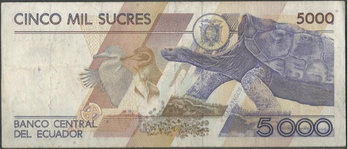ecuador 5000 sucres 22 jul 1992 seie al p128a