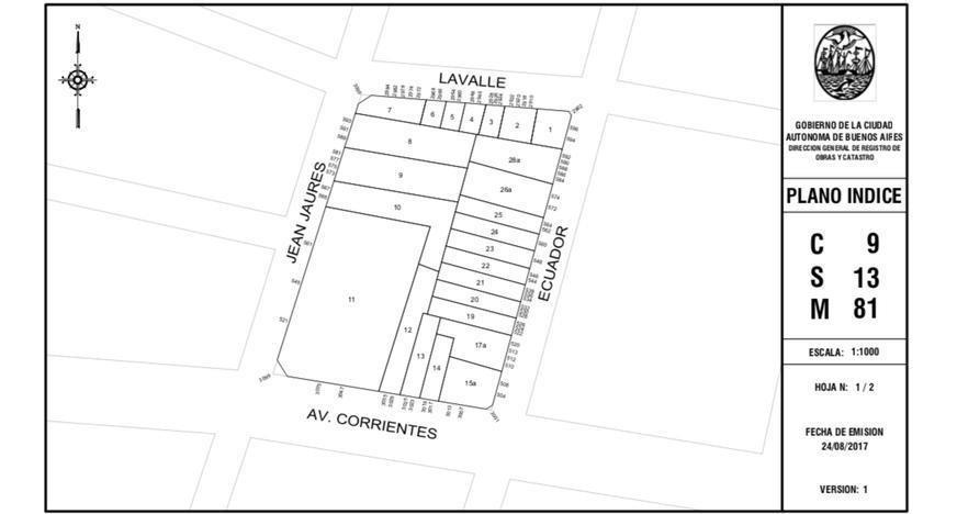 ecuador al 500 y av. corrientes 7 x 34 apto 1000 m2 vendibles con planos aprobados y derechos pagos demolicion hecha