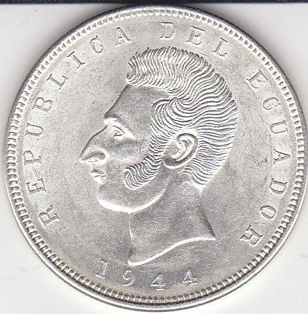 ecuador antigua moneda de plata, 5 sucres 1944