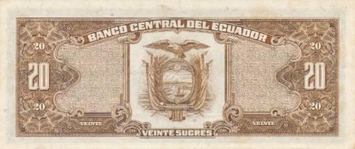 ecuador, antiguo billete 20 sucres 1.986 serie lu