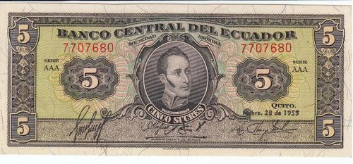 ecuador, antiguo billete, 5 sucres 1.955 unc