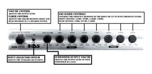 ecualizador para coche boss audio ava1210 - 7 bandas de pre