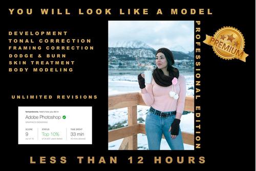 edición fotos photoshop. retoque fondo filtros efectos 24hs