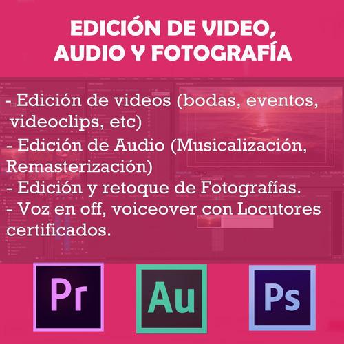 edición video y audio. voz en off. diseño de post para redes