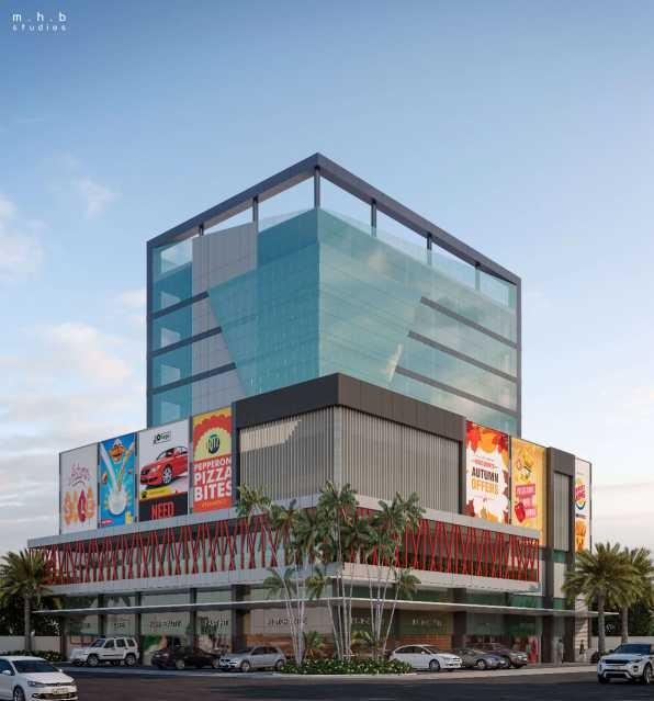 edifício comercial de salas, lojas e quiosques, sendo o térreo com 6 lojas(fora de venda), 2ºpavimento com 14 sobre lojas, 6 quiosques, praça de alimentação e varanda panorâmica, 3º e 4º pavimentos g