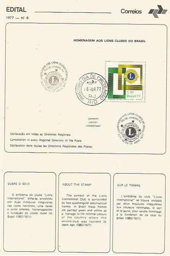 edital 1977 n.06 c/selo e carimbo primeiro dia