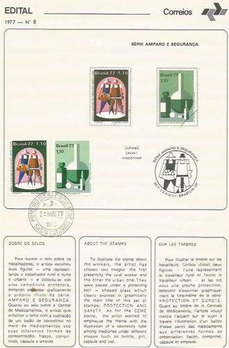 edital 1977 n.08 c/selo e carimbo primeiro dia