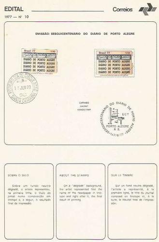 edital 1977 n.10 c/selo e carimbo primeiro dia