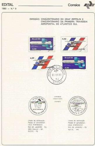 edital 1980 n.09 c/selo e carimbo primeiro dia