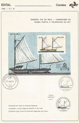 edital 1980 n.15 c/selo e carimbo primeiro dia