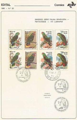 edital 1980 n.22 c/selo e carimbo primeiro dia