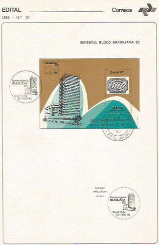 edital 1982 n.37 c/ selo e carimbo de primeiro dia