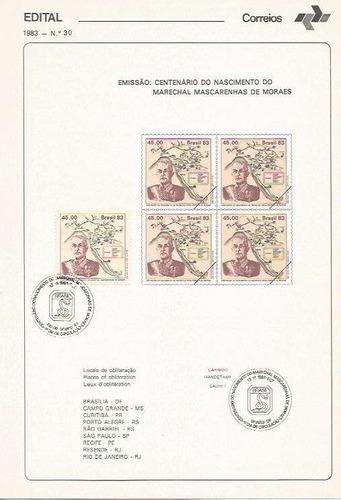 edital 1983 n.30 c/ selo e carimbo de primeiro dia