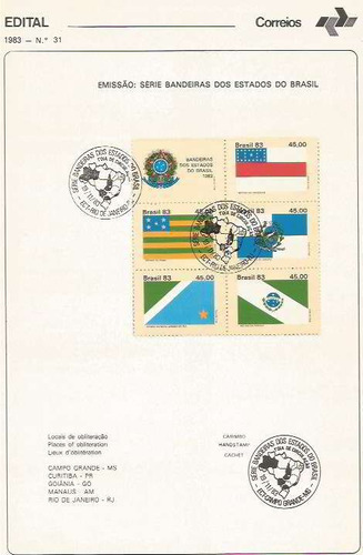 edital 1983 n.31 c/ selo e carimbo de primeiro dia