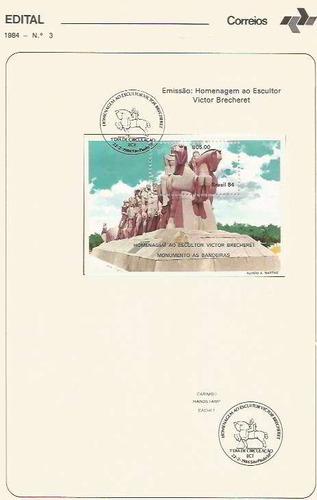edital 1984 n.03 c/ selo e carimbo de primeiro dia