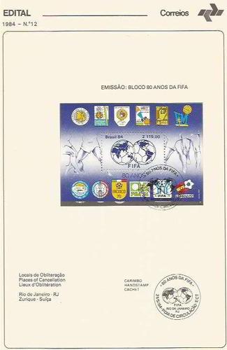 edital 1984 n.12 c/ selo e carimbo de primeiro dia