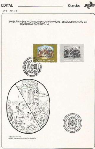 edital 1985 n.28 c/selo e carimbo de primeiro dia
