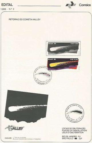 edital 1986 n.02 c/selo e carimbo de primeiro dia