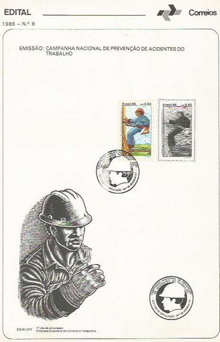 edital 1986 n.09 c/selo e carimbo de primeiro dia