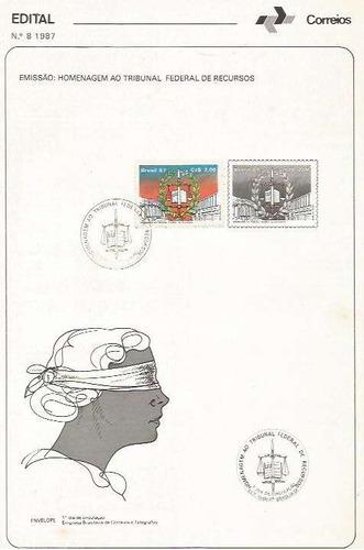 edital 1987 n.08 c/selo e carimbo de primeiro dia