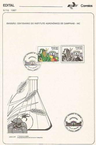 edital 1987 n.10 c/selo e carimbo de primeiro dia