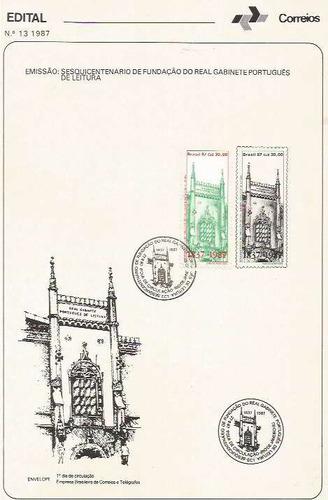 edital 1987 n.13 c/selo e carimbo de primeiro dia
