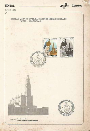 edital 1987 n.22 c/selo e carimbo de primeiro dia