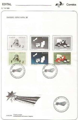 edital 1988 n.18 c/selo e carimbo de primeiro dia