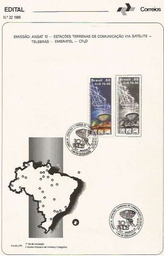 edital 1988 n.22 c/selo e carimbo de primeiro dia