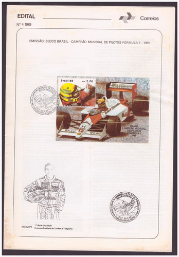 edital 1989 b-79 ayrton senna campeão mundial de fórmula 1