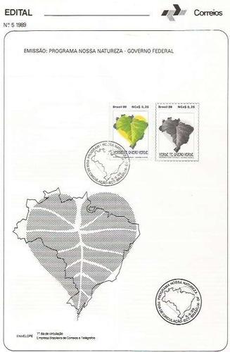 edital 1989 n.05 c/selo e carimbo de primeiro dia circulação
