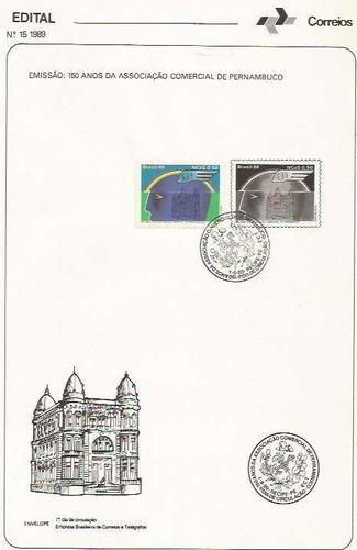 edital 1989 n.15 c/selo e carimbo de primeiro dia circulação