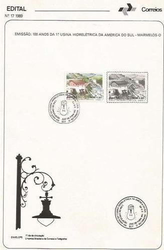 edital 1989 n.17 c/selo e carimbo de primeiro dia circulação