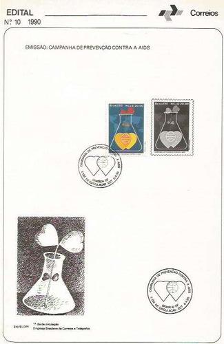 edital 1990 n.10 c/ selo e carimbo de primeiro dia