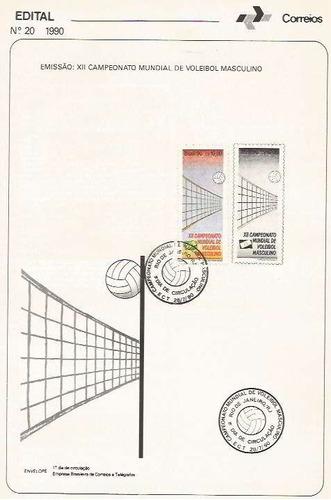 edital 1990 n.20 c/ selo e carimbo de primeiro dia