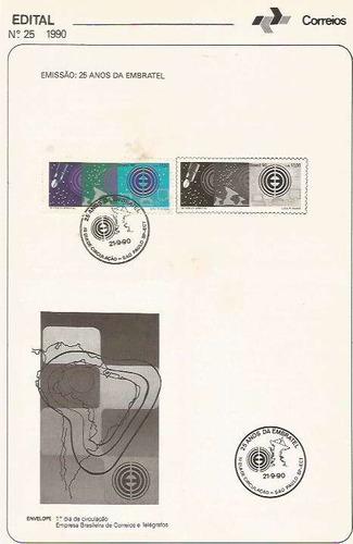 edital 1990 n.25 c/ selo e carimbo de primeiro dia