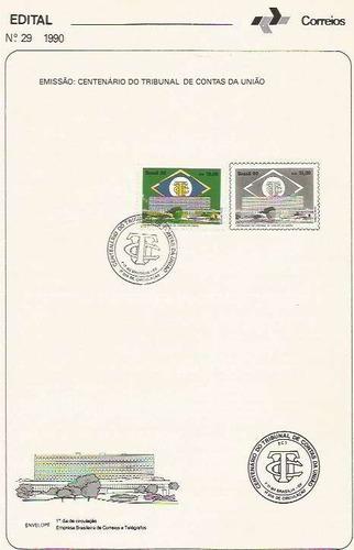 edital 1990 n.29 c/ selo e carimbo de primeiro dia