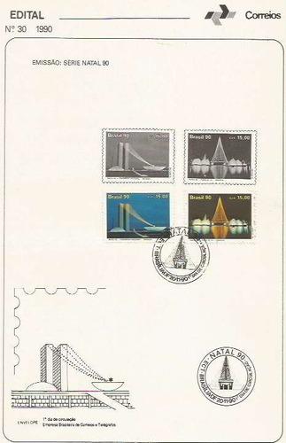 edital 1990 n.30 c/ selo e carimbo de primeiro dia